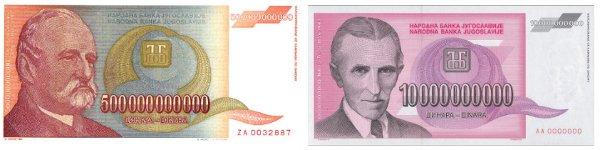 Des billets de 10 et de 500 milliards de dinars
