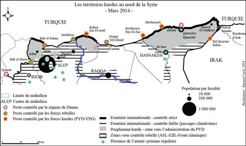 Les trois cantons kurdes en mars 2014. D'ouest en est : Efrîn, Kobanê, Cizîrê. Une carte publiée par Orientxxi.info.