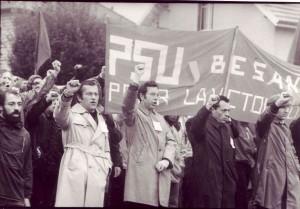 Marche sur Lip, septembre 1973. Gilbert Marquis est à droite, avec sa casquette.
