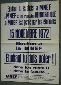 Affiche MNEF Lyon 1972. Cité des mémoires étudiantes