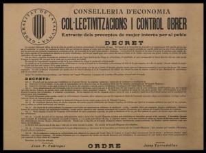 Décret collectivisations et contrôle ouvrier